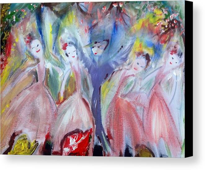 Ballet Canvas Print featuring the painting Afternoon Bird Ballet by Judith Desrosiers