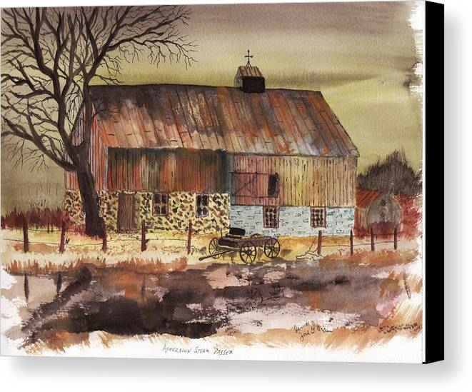 Barn Storm Buggy Landscape Fence Old Rust Canvas Print featuring the painting Afternoon Storm Passed by Jack G Brauer