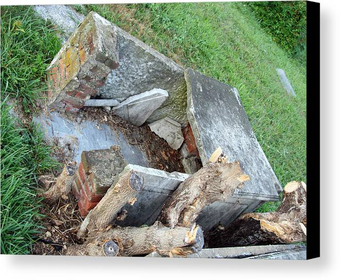 Open Canvas Print featuring the photograph An Open Grave's Rubble by Cora Wandel