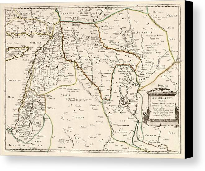 Middle East Canvas Print featuring the drawing Antique Map Of The Middle East By Philippe De La Rue - 1651 by Blue Monocle