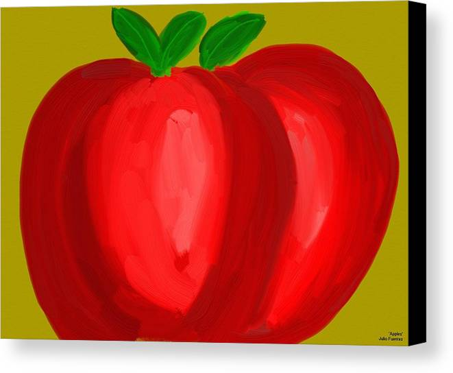 Apples Canvas Print featuring the painting Apples by Julio Fuentes