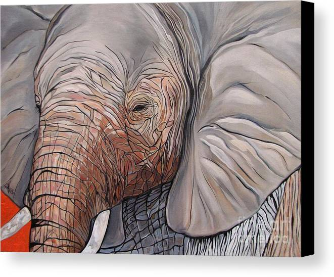 Elephant Bull Painting Canvas Print featuring the painting Are You There by Aimee Vance