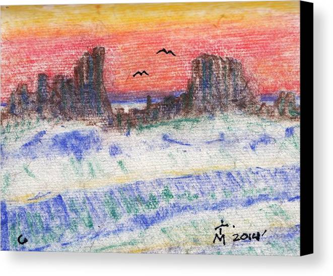 Sunset Canvas Print featuring the drawing At Long Last Arriving by Artreats