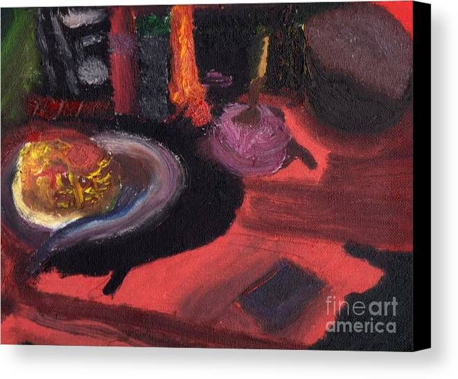 Oil Painting Canvas Print featuring the painting At The Diner by Robert Garris