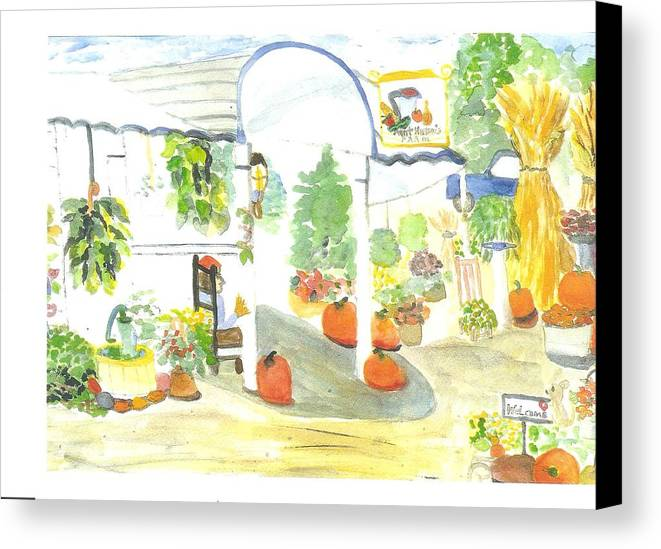 Nj Farm Stand Canvas Print featuring the painting Aunt Helen's Farm by Thelma Harcum