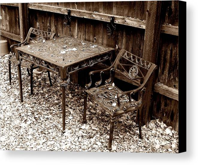 Iron Canvas Print featuring the painting Back Yard Iron by Tom Riggs