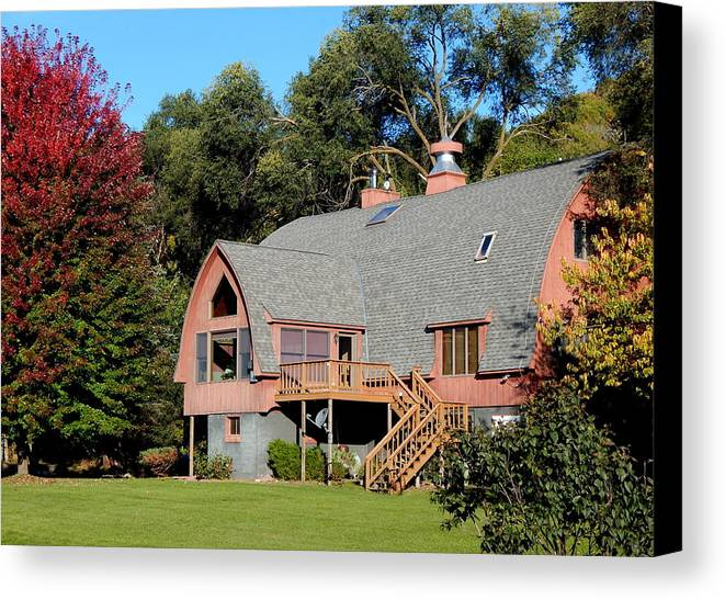 Autumn Canvas Print featuring the photograph Barn House by Wild Thing