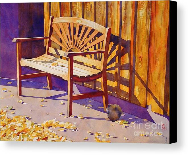 Watercolor Canvas Print featuring the painting Bench At Sharlot Hall by Robert Hooper