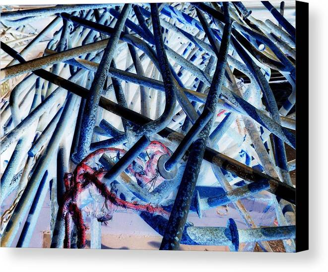 Retail Art Canvas Print featuring the photograph Bent Rebar 6 by Dietrich ralph Katz