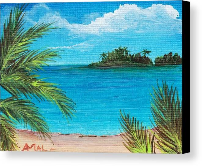 Interior Canvas Print featuring the painting Boca Chica Beach by Anastasiya Malakhova