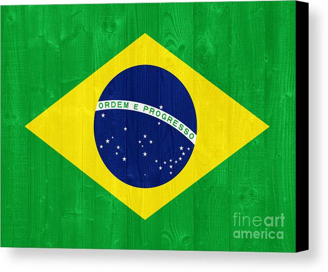 Brazil Canvas Print featuring the photograph Brazil Flag by Luis Alvarenga