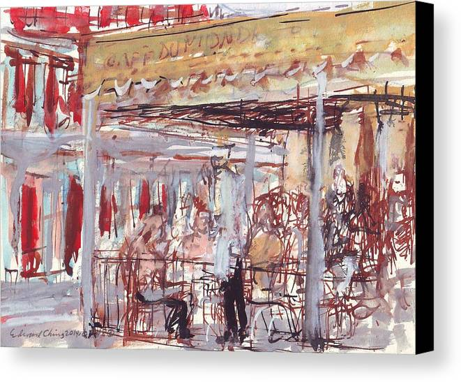 Café Canvas Print featuring the drawing Cafe Du Monde by Edward Ching