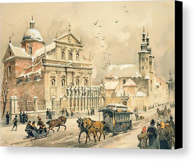 Saints Canvas Print featuring the painting Church Of St Peter And Paul In Krakow by Stanislawa Kossaka