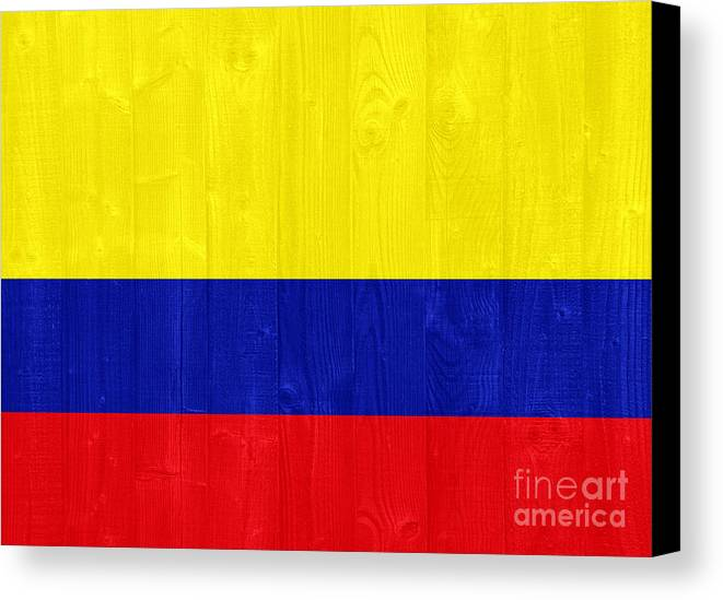 Colombia Canvas Print featuring the photograph Colombia Flag by Luis Alvarenga