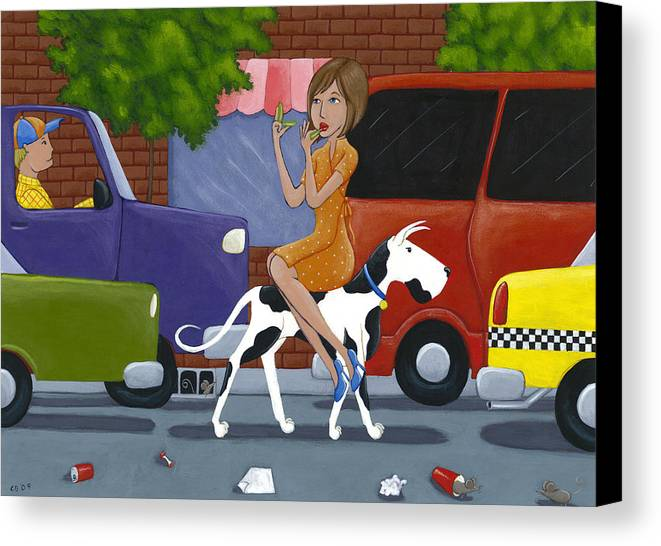 Dog Canvas Print featuring the painting Commuting by Christy Beckwith