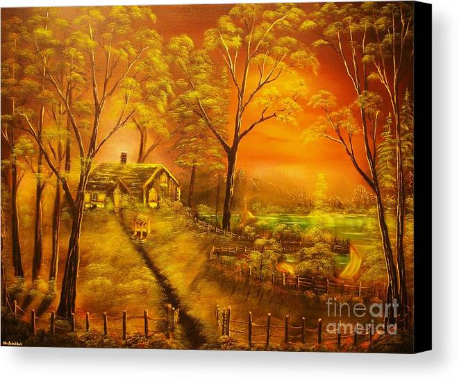 Cottege Canvas Print featuring the painting Cottage By The Lake-original Sold- Buy Giclee Print Nr 32 Of Limited Edition Of 40 Prints by Eddie Michael Beck
