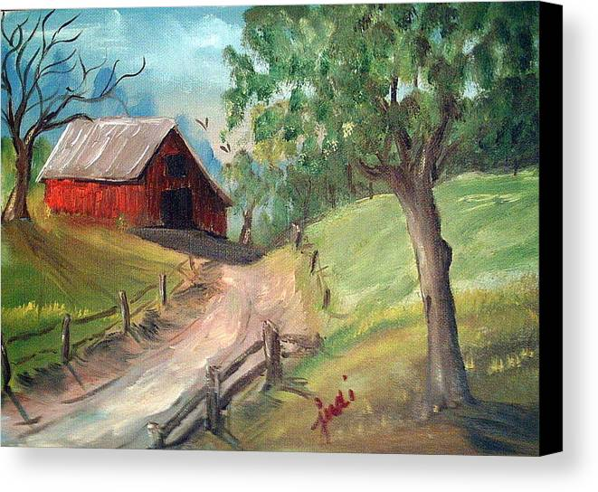 Barn Canvas Print featuring the mixed media Country Barn by Judi Pence