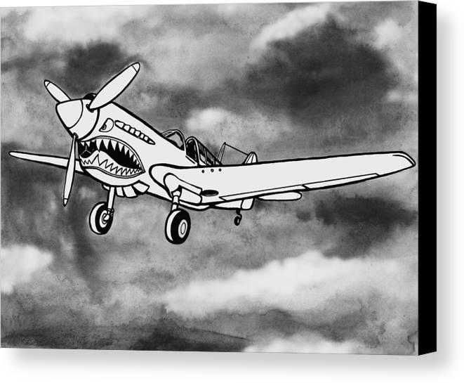 Warhawk Canvas Print featuring the mixed media Curtiss P-40 Warhawk 2 by Scott Nelson