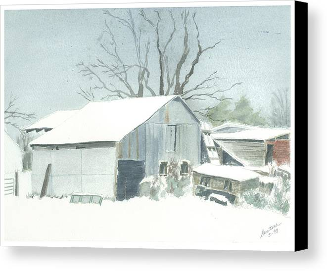 Winter Canvas Print featuring the painting David Hoyles Shed by Joel Deutsch