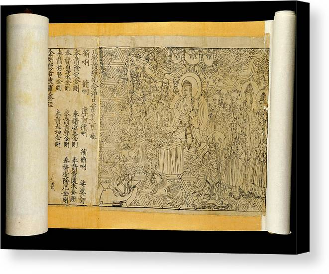 Diamond Sutra Canvas Print featuring the photograph Diamond Sutra Scroll by British Library