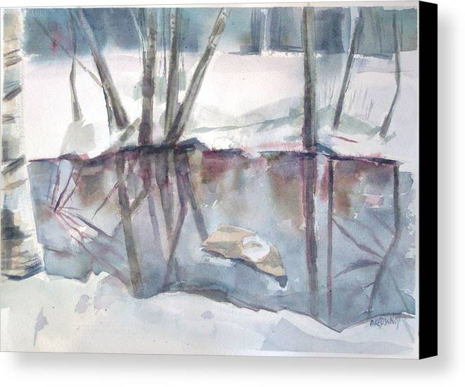 Maine Canvas Print featuring the painting Ditch Pool April by Grace Keown