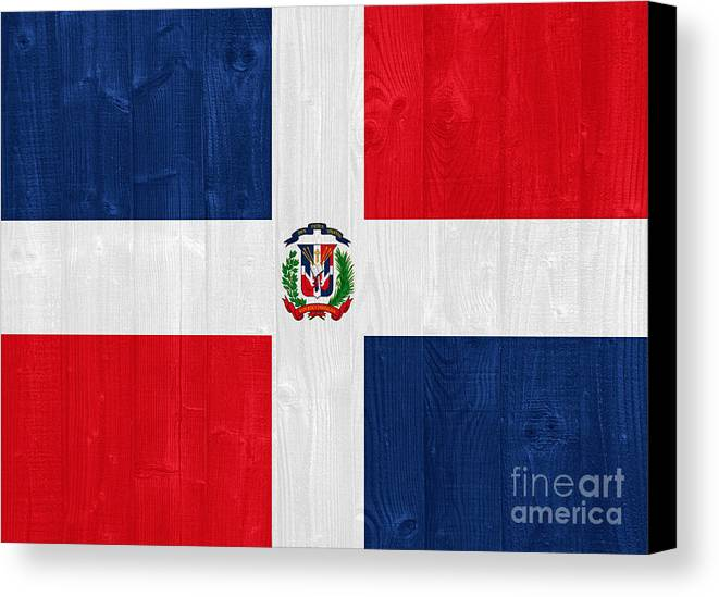 Dominican Canvas Print featuring the photograph Dominican Republic Flag by Luis Alvarenga