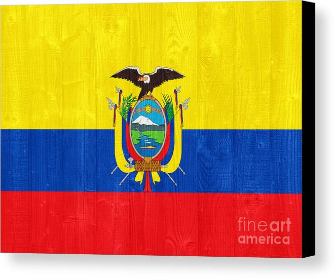 Ecuador Canvas Print featuring the photograph Ecuador Flag by Luis Alvarenga