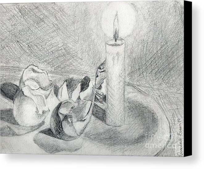 Eggshells Canvas Print featuring the drawing Eggshells In Candlelight by Genevieve Esson