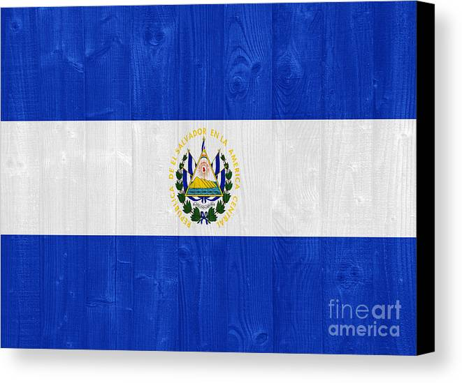 Salvador Canvas Print featuring the photograph El Salvador Flag by Luis Alvarenga