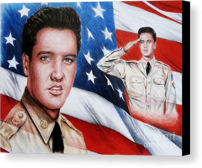 Elvis Canvas Print featuring the painting Elvis Patriot by Andrew Read