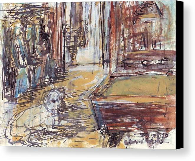 New Canvas Print featuring the drawing Empty Bar With Dog And Pool Table by Edward Ching
