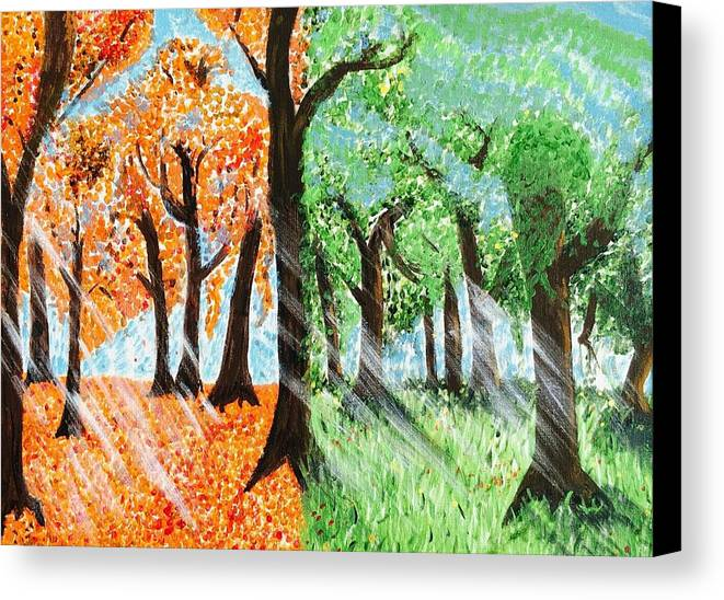 Fall Canvas Print featuring the painting Fall Into Spring by Joshua Doucet