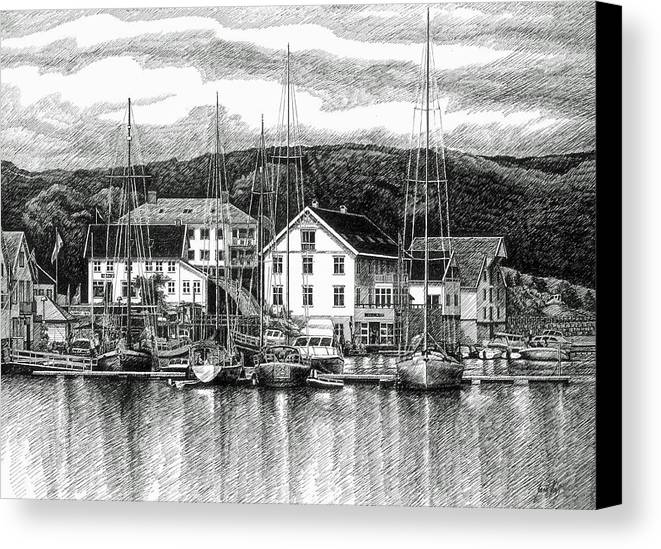 Dock Canvas Print featuring the drawing Farsund Dock Scene Pen And Ink by Janet King