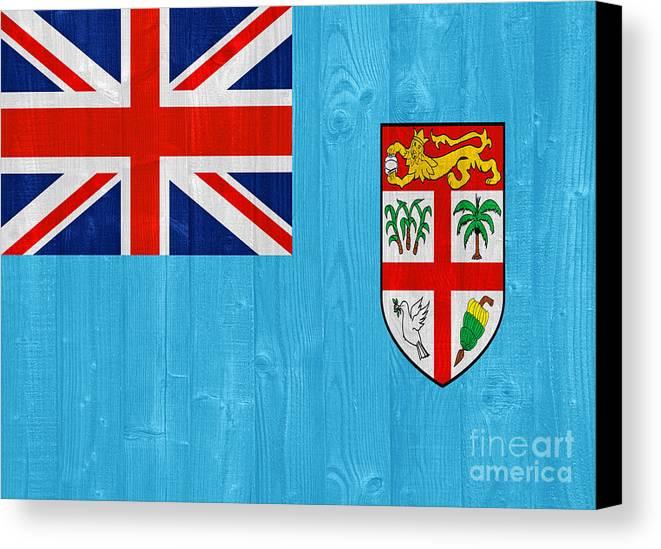 Fiji Canvas Print featuring the photograph Fiji Flag by Luis Alvarenga