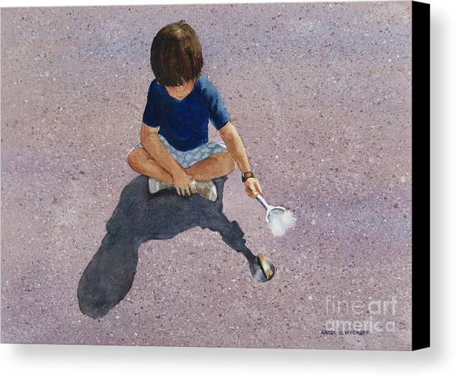Boy Canvas Print featuring the painting Fire Starter by Karol Wyckoff