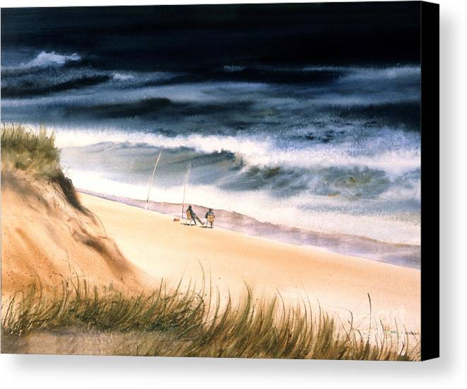 Ocean Canvas Print featuring the painting Fishermen's Wait by Karol Wyckoff
