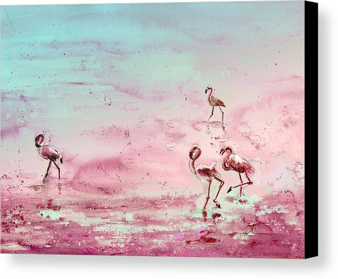 Travel Canvas Print featuring the painting Flamingos In Camargue 03 by Miki De Goodaboom