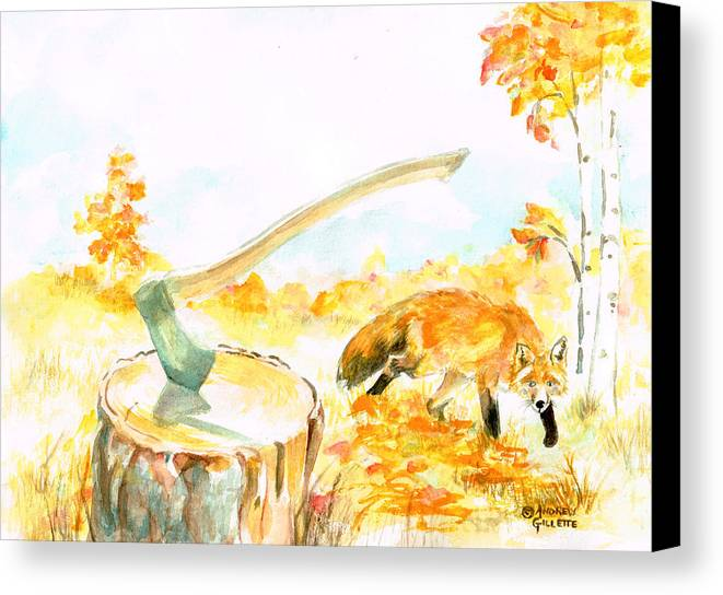 Fox Canvas Print featuring the painting Fox In Autumn by Andrew Gillette