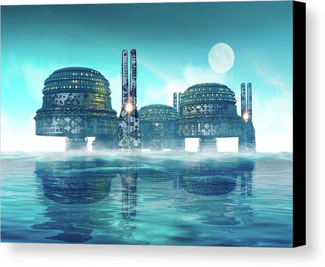 Artwork Canvas Print featuring the photograph Futuristic City On Water by Victor Habbick Visions