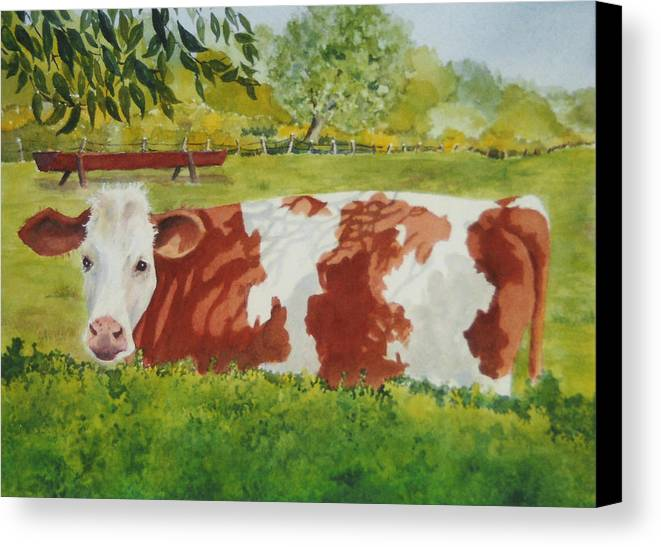 Cows Canvas Print featuring the painting Give Me Moooore Shade by Mary Ellen Mueller Legault