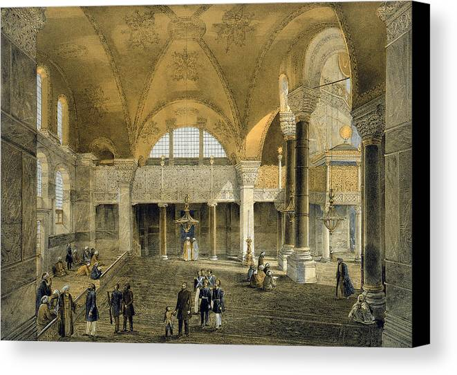 Architecture Canvas Print featuring the drawing Haghia Sophia, Plate 9 The New Imperial by Gaspard Fossati