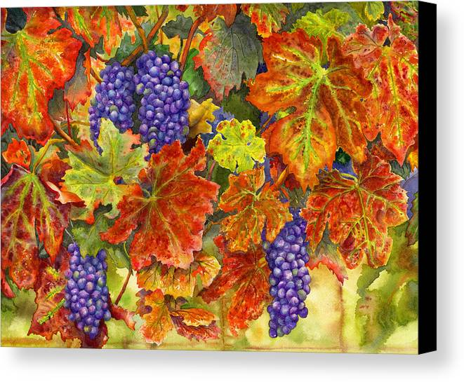 Grapes Canvas Print featuring the painting Harvest Time by Karen Wright