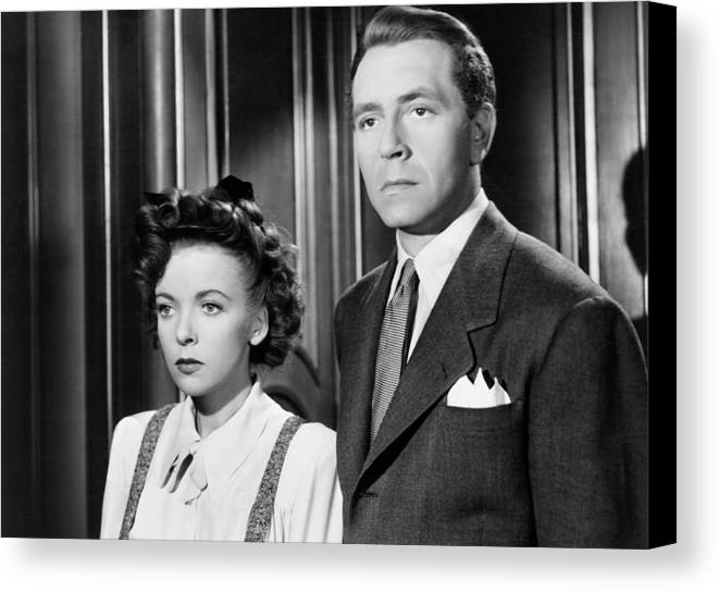 1940s Movies Canvas Print featuring the photograph In Our Time, From Left, Ida Lupino by Everett