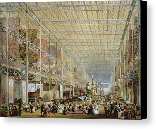 Architecture Canvas Print featuring the drawing Interior Of The Great Exhibition Of All by Edmund Walker