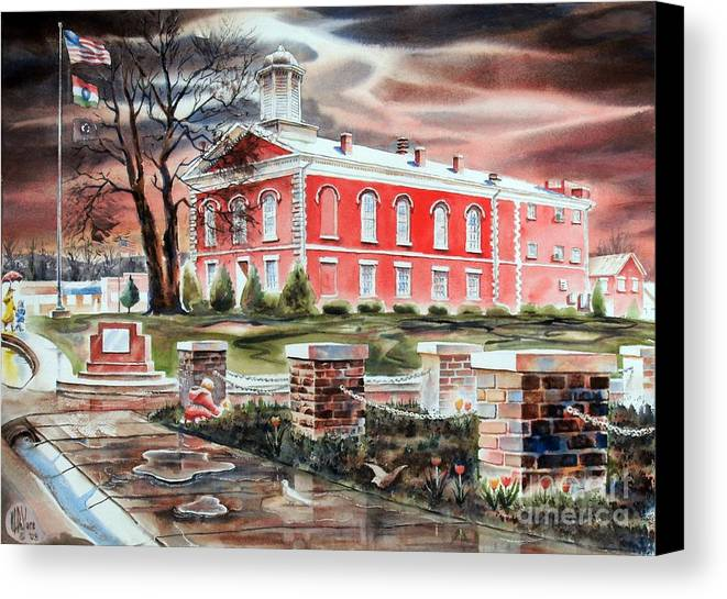 Iron County Courthouse No W102 Canvas Print featuring the painting Iron County Courthouse No W102 by Kip DeVore