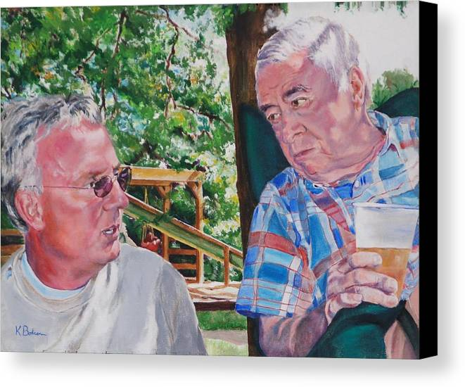 Portrait Canvas Print featuring the painting July 4th Picnic  by Kay Bohren