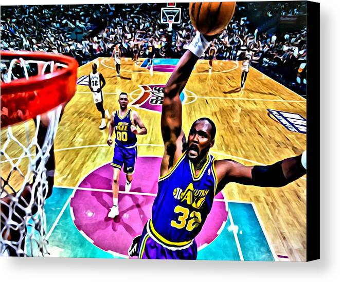 Nba Canvas Print featuring the painting Karl Malone by Florian Rodarte