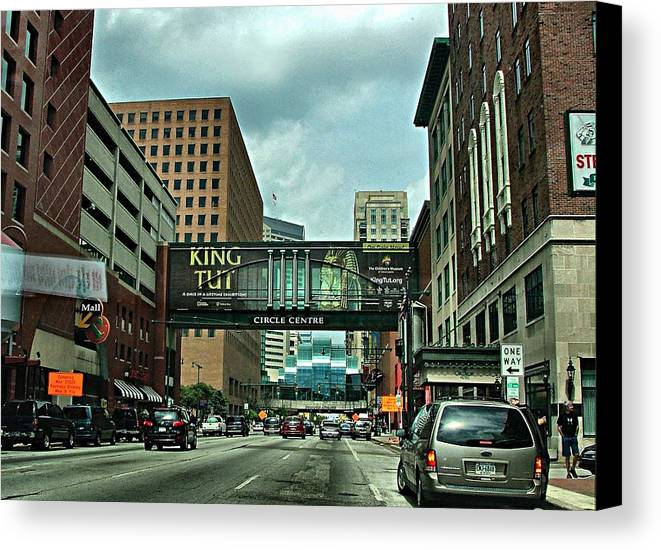Downtown Canvas Print featuring the photograph King Tut In Indy by Julie Dant