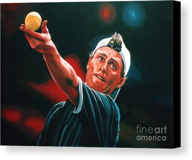 Lleyton Hewitt Canvas Print featuring the painting Lleyton Hewitt 2 by Paul Meijering