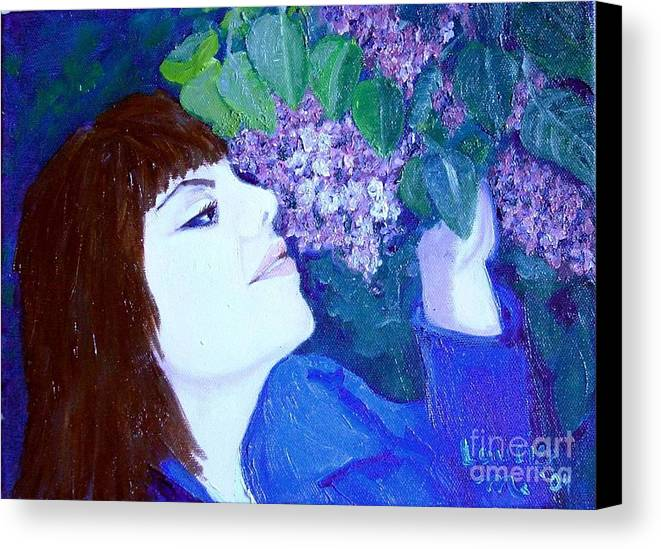Lilacs Canvas Print featuring the painting Lush Lilacs by Laurie Morgan